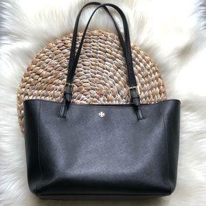 tory burch • emerson black tote bag